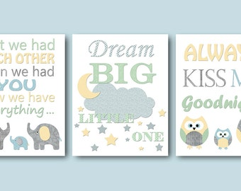 Gray Yellow Blue Baby Boy Nursery Quotes Canvas Print Dream Big Little One Always kiss me Children Art Print Kids Wall Art Kids Art set of 3