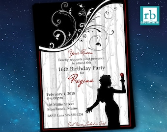 Once Upon a Time Regina, Evil Queen Birthday Invitation, Once Upon a Time Invitations, OUAT Party, Lana Parrilla - Digital Printables