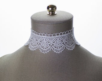Scalloped Embroidered Lace Choker. Bridal Choker. White Wide Lace Choker Necklace. White Choker. White Lace Choker. Bridal Lace Jewelry