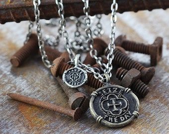 Mens Necklace Gold Carpe Diem Seize the Day Pendant Man Jewelry