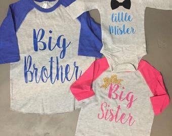 Biggest sister big sister little mister biggest brother big brother long sleeve onesie matching sibling shirts raglans