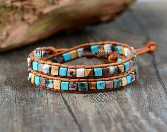 Crystal Bead Friendship Bracelet Wrap, Surf Beach Surfer Chakra Leather Agate stones double
