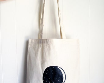 SALE - New Moon Full Moon Canvas Tote Bag