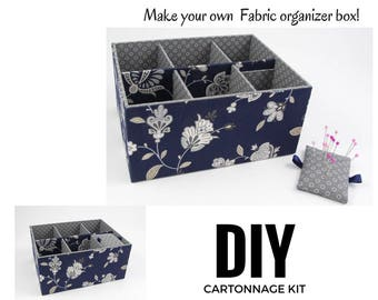 Fabric organizer box DIY kit, cartonnage fabric box kit, fabric covered diy box (DIY kit 153), exclusive book kit