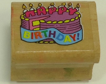 Happy Birthday Cake Wood Mounted Rubber Stamp By Noteworthy Celebration
