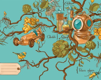 Retro and steampunk illustrated postcard: botanical diver