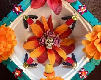 Day of the Dead Shrine / Dia-de-los-Muertos Skull Nicho / Handmade Calavera Altar / Folk Art Home Decor