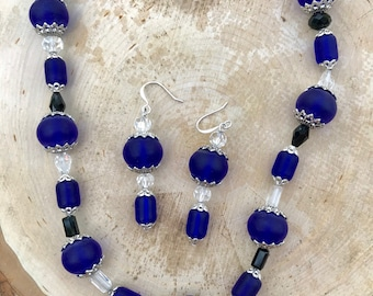 """Cobalt Blue """"Sea Glass"""" Necklace and Earring Set with Deep Cobalt Crystals and Caps"""