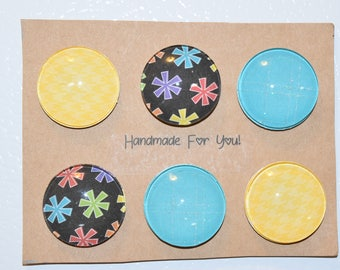 Yellow, Blue, Stars Refrigerator Magnets