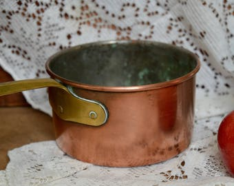 Vintage Copper Saucepan Pot Pan Round Pan Cookware from Portugal