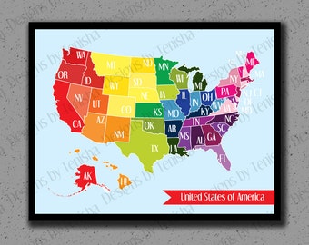United States map Archival maps print Vintage map of USA