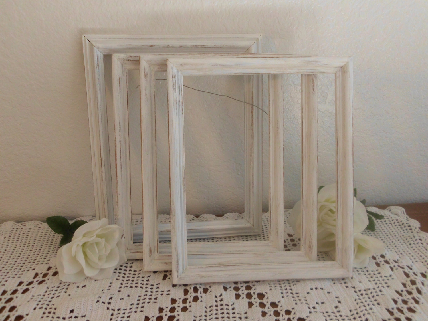 zoom - Distressed White Picture Frames