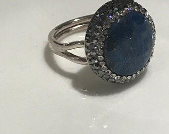 Turkish Handmade, Sterling Silver, Swarovski Crystal, Sax Blue Quartz Gemstone Ring