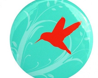 Hummingbird Pocket Mirror 2 1/4 inch Teal