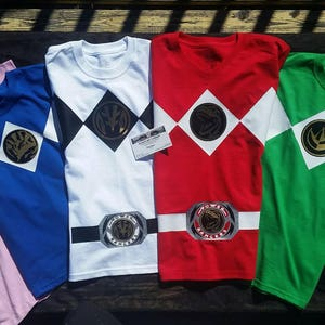 Mighty Morphin Power Rangers Party Shirts Child kid Adult Youth Optional Morpher belt Original Red Green White Black Blue Pink Yellow Ranger