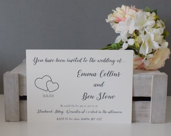 Two Love Heart Wedding Invitation, RSVP and Wedding Wish SAMPLE