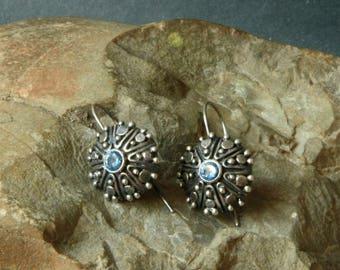 Sterling Silver Earrings, 925 silver earrings, Star-Cut Synthetic Aquamarine CR