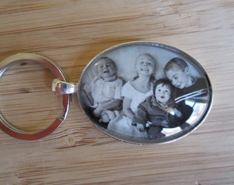 Personalized / custom photo keychain oval or circle perfect Christmas gift for Grandpa or Dad, children's art, mother's day gift