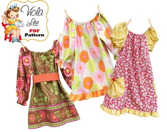 Girl's Peasant Dress Pattern, Girl's pdf Sewing Pattern. Girl's Dresses, Toddler Top Pattern, Long Sleeve Dress -Top pdf Pattern. Tessa