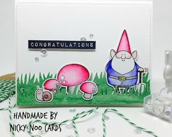 Handmade Congratulations Card - Garden Gnome - Watercolour