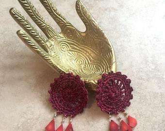 Deep fuchsia handmade crochet statement earrings, red natural coral semi-precious