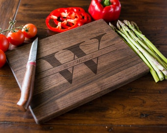 Custom Engraved Cutting Board, Personalized Cutting Board, Monogram, Wedding Gift, Anniversary, Bridal Shower Gift, Kitchen Decor #3100