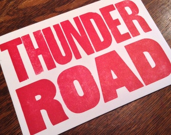 THUNDER ROAD 6 hand printed letterpress mini prints post cards