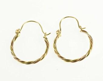 10k Tri Tone Twist Spiral Dangle Hoop Earrings Gold