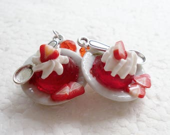 Strawberry Jelly/ Jello Earrings. Polymer clay.