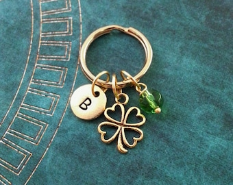 Four Leaf Clover Keychain, VERY SMALL Keyring, St. Patrick's Day Keychain Good Luck Charm Gold Shamrock Keyring Green Bead Lucky Keychain