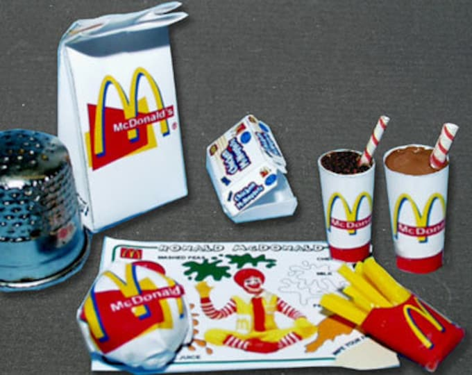 Fastfood mc Donald, Paperminis, Bastelkit of paper in miniature for the Dollhouse, the doll house, Dollhouse Miniatures # 40028