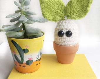 Little sprout the vegan woodland sprite, crochet cactus, good for new home, thank you gift, desk  plant, student