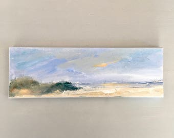 "Beach Painting 4 x 12 -  Original Painting  - Stretched Canvas- painted 3/4""edge ready to hang- Blue Sky - Beige Sand"