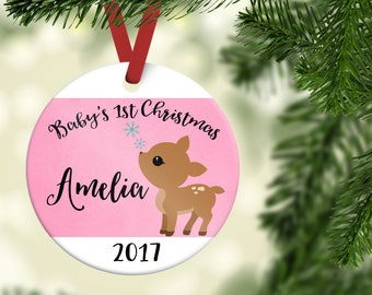 First Christmas ornament baby girl| Girl Christmas Ornament| Personalized Christmas Ornament| Baby's first Christmas| Baby girl gift| CO14
