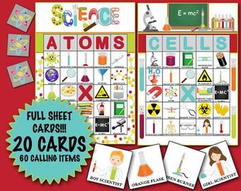 Science Bingo 20 cards INSTANT DOWNLOAD