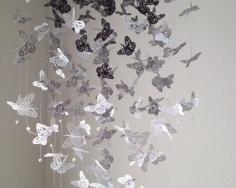 Monarch Butterfly Chandelier  Mobile - black, gray and white, nursery mobile, baby mobile, photo prop, baby mobile
