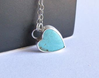 Kingman Turquoise Heart Necklace - Tiny Heart Necklace - Valentine's Necklace - Turquoise Jewelry
