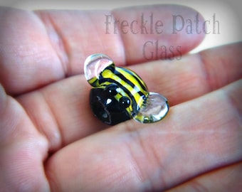 Bumble Bee Handmade Glass Bead, Made to Order, Lampwork Animal Honey Bee Totem