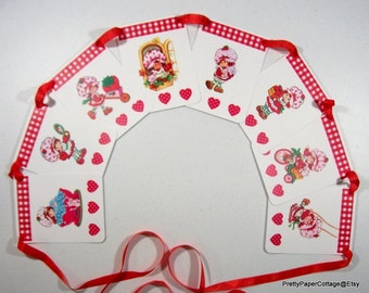 Vintage, Strawberry Shortcake, Banner, Bunting, Girl, Baby Shower, Birthday Party, First Birthday, Party Decoration
