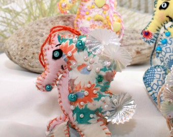 Sweety-of-the-Sea Sea Horsie Quilty Critter /  OOAK/ Novelty / Ornament / Gift