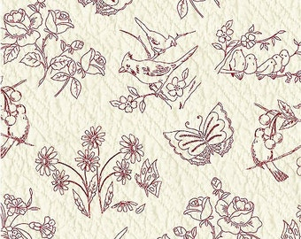 Redworks Fabric - Birds & Floral by Mary Koval for Windham Fabrics 33591-1 - Priced by the 1/2 yard