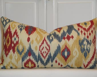BOTH SIDES IKAT - Decorative Pillow Cover - Red - Navy Blue - Gold - Ecru - Lumbar Cover