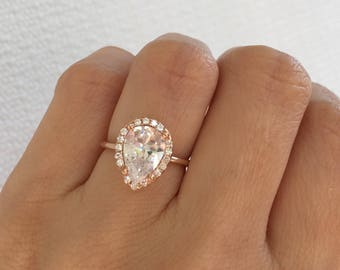 Rose Gold Classic Pear Shape Ring. Rose Gold Teardrop Ring. Engagement Ring. Sterling Silver Rose Gold Plated Ring. Top Quality Cz Ring.
