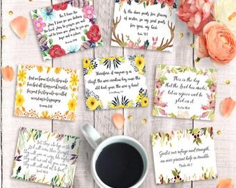 "Bible Verse Cards - Printable 3""x2.5, Instant Download, 9 Inspirational Scripture Hang Tags, Art Journal Collage Sheet, Digital Scrapbooking"