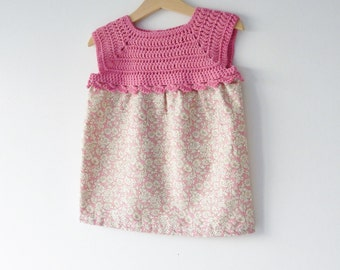 Girl's dress - age 2 - 3 years - coral pink - vintage style fabric - crochet yoke - summer dress