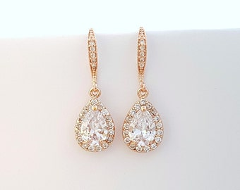 Rose Gold Bridal Earrings, Wedding Earrings, Bridesmaid Earrings, Bridal Teardrop Earrings, Wedding Bridal Jewelry, Emma