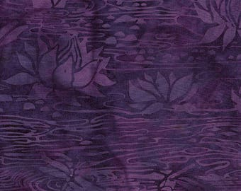 Lotus Blackberry Purple Island Batik Fabric