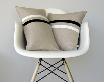 Black and White Striped Pillow Set | (12x20) and (16x16) by JillianReneDecor | Modern Home Decor | Minimal | Black and White Stripes