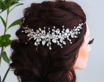 Blue opal Hair vine-Swarovski Crystal Hair Comb- Bridal Hair Vine -Wedding hair piece-Bridal headpiece-Wedding hair vine-Rose gold Hair Vine