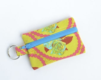 Ear Bud Case, Small Zipper Pouch, Garden Party Pink